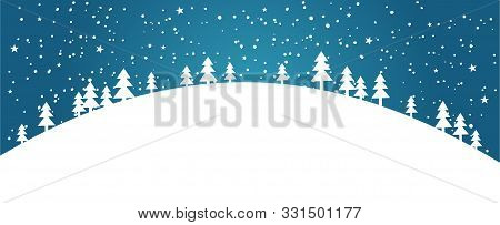 White Silhouettes Of Snowy Christmas Trees Against A Blue Winter Sky. Banner With A Simple Applique.