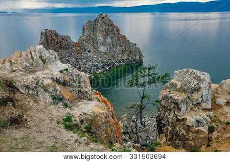 Shamanka On Baikal Lake Near Khuzhir At Olkhon Island In Siberia, Russia.