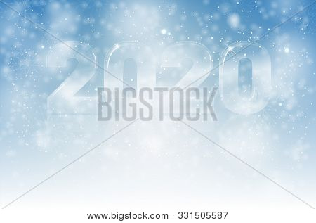 Winter Background With Glassy Shiny Transparent Numbers 2020 - New Year Card With Copy Space For You
