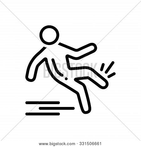 Black Line Icon For  Slip-and-fall Slip Fall Slippery Injury