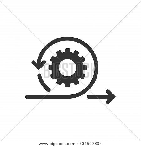 Agile Icon In Flat Style. Flexible Vector Illustration On White Isolated Background. Arrow Cycle Bus