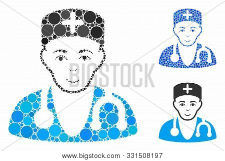 Physician Mosaic Of Small Circles In Various Sizes And Color Tints, Based On Physician Icon. Vector