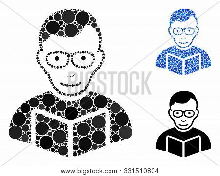 Reader Composition Of Round Dots In Various Sizes And Shades, Based On Reader Icon. Vector Round Ele