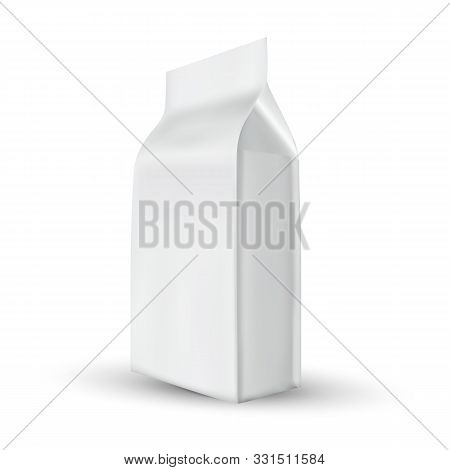 Doypack Bag For Storage Coffee Product Vector. Blank Foil Doypack Packet For Salt Or Sugar, Snack Or