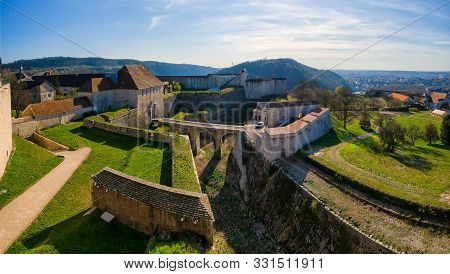 Top View Of The Entrance To The Citadel From The City Of Besancon. France. There Are Numerous Defens