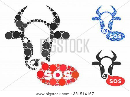 Cow Sos Message Composition Of Filled Circles In Variable Sizes And Color Hues, Based On Cow Sos Mes