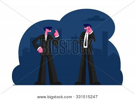 Couple Of Male Bodyguards Characters Wearing Black Suit Waiting Celebrity Or Famous Vip Person Arriv