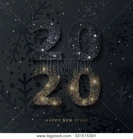 2020 Happy New Year Background. 2020 Number Design With Glittering Black And Gold Numbers On Texture