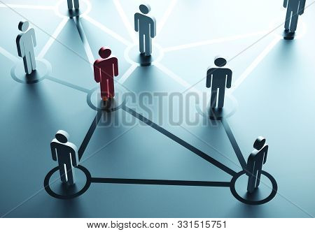 Group Of People Talking In Social Network. Business Communication Concept. 3d Rendering
