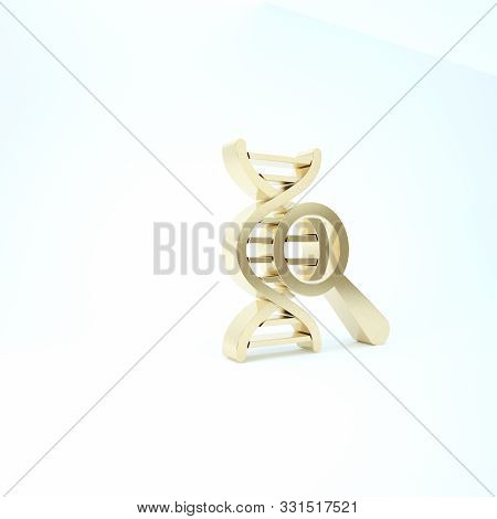 Gold Dna Research, Search Icon Isolated On White Background. Magnifying Glass And Dna Chain. Genetic