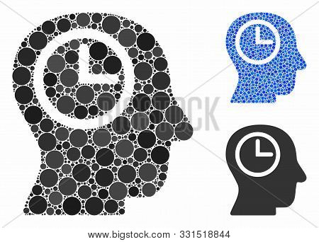 Time Manager Mosaic Of Small Circles In Various Sizes And Color Tinges, Based On Time Manager Icon.