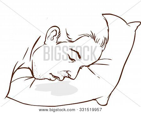 An Image Of A Man Drooling On His Pillow.
