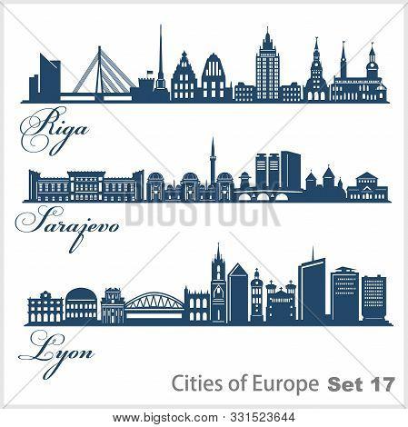 City In Europe - Riga, Sarajevo, Lyon. Detailed Architecture. Trendy Vector Illustration.