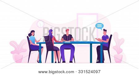 Business Board Meeting Of Director And Employees In Office. Businesspeople Around Table Planing Star