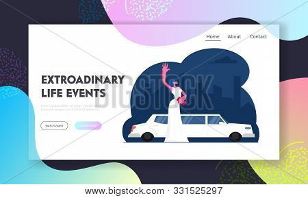 Gala Show Celebrity Arriving To Award Ceremony Website Landing Page. Elegant Young Woman In White Go