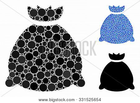 Sack Bag Mosaic Of Filled Circles In Different Sizes And Color Tones, Based On Sack Bag Icon. Vector