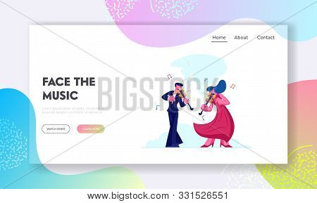 Instrumental Music Duet Ensemble Website Landing Page. Musicians with Instruments Perform on Stage with Violins, Classical Musical Concert Performance Web Page Banner. Cartoon Flat Vector Illustration poster