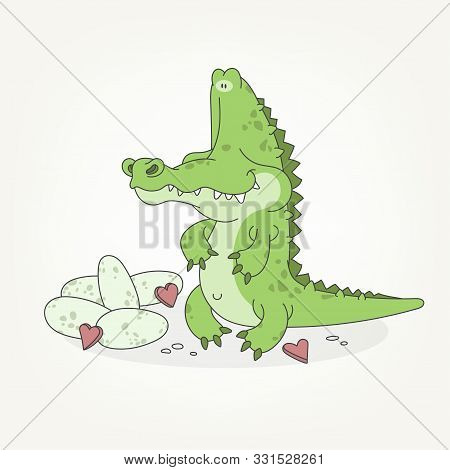 Cartoon Character Of A Forest Animal. A Funny Cute Toothy Green Crocodile Sits And Poses With Eggs A