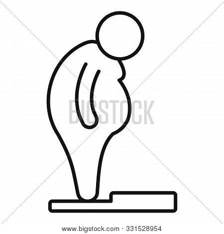 Overweight Man Scales Icon. Outline Overweight Man Scales Vector Icon For Web Design Isolated On Whi