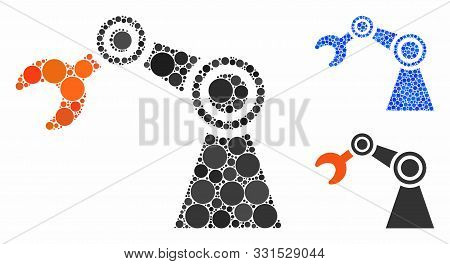 Industrial Manipulator Mosaic Of Small Circles In Different Sizes And Color Tones, Based On Industri