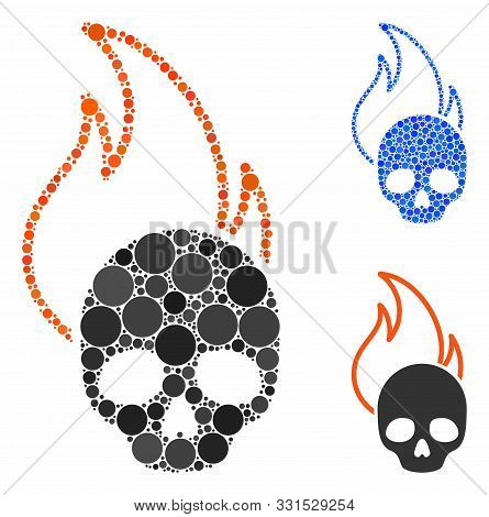 Hell Fire Composition Of Round Dots In Different Sizes And Color Tinges, Based On Hell Fire Icon. Ve