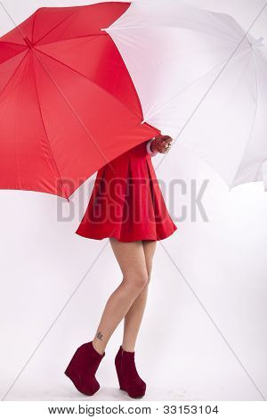 Young Woman Behind Umbrella