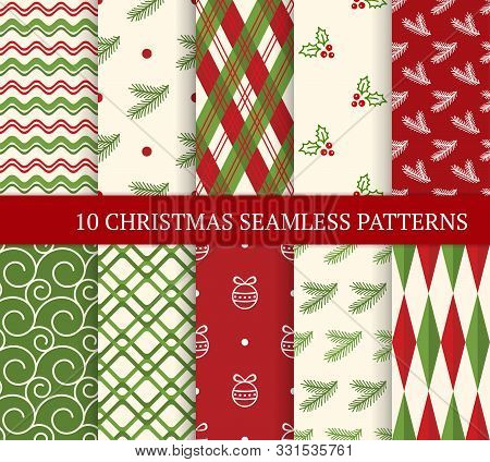 Ten Christmas Different Seamless Patterns. Xmas Endless Texture For Wallpaper, Web Page Background,