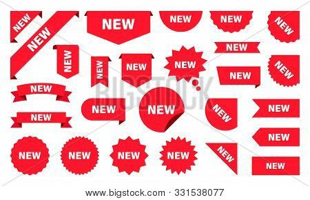 New Label Collection Set. Sale Tags. Discount Red Ribbons, Banners And Icons. Shopping Tags. Sale Ic