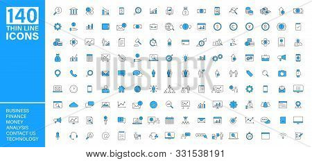 Big Vector Collection Of 140 Thin Line Web Icon. Business, Contact Us, Money, Analysis, Banking, Tec