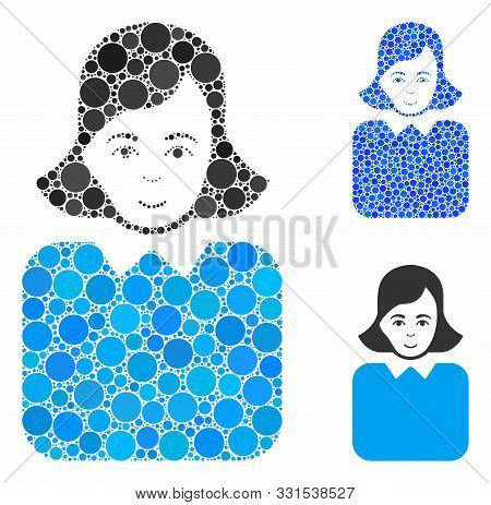 Bureaucrat Woman Mosaic Of Filled Circles In Various Sizes And Shades, Based On Bureaucrat Woman Ico