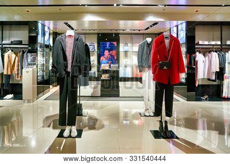 HONG KONG, CHINA - CIRCA JANUARY, 2019: interior shot of Emporio Armani store in Elements shopping mall