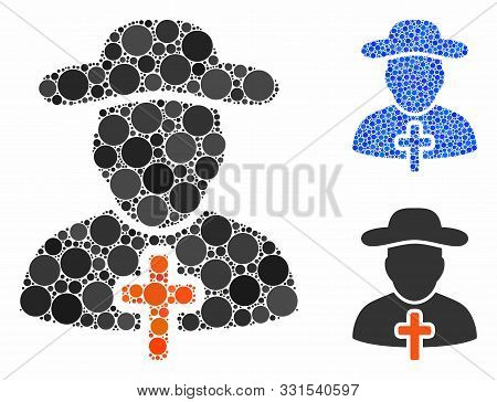 Cleric Composition Of Filled Circles In Different Sizes And Shades, Based On Cleric Icon. Vector Fil
