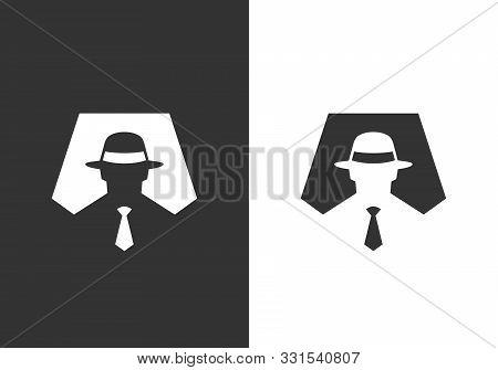 Incognito Logo Icon Design Template, Hacker Or Spy Symbol, Simple Detective Silhouette - Vector