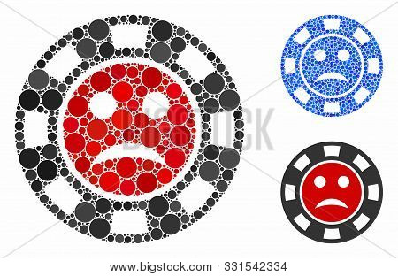 Pity Casino Chip Mosaic Of Round Dots In Different Sizes And Color Hues, Based On Pity Casino Chip I