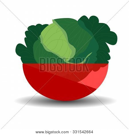 Kale Heads In A Red Transparent Bowl. Vector Graphic Illustration With Shadow.