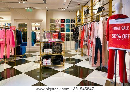 HONG KONG, CHINA - CIRCA JANUARY, 2019: interior shot of Elements shopping mall. Juicy Couture is a casualwear and dress clothing brand.