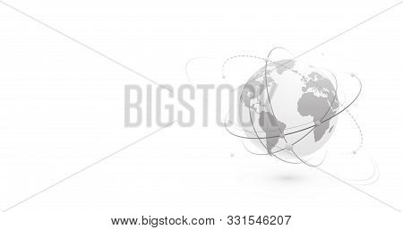 Global Network World Concept Vector Banner Background With Copy Space At Left Side. Technology Globe