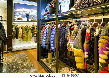 HONG KONG, CHINA - CIRCA JANUARY, 2019: clothes on display at Moncler store. Moncler S.p.A is an Italian apparel and lifestyle company, most known for its down jackets and sportswear.