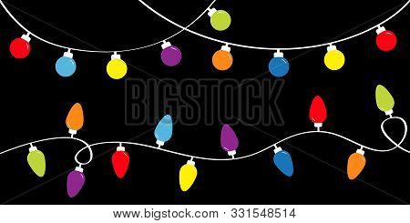 Colorful String Fairy Light Set. Holiday Festive Xmas Decoration. Christmas Lights. Lightbulb Glowin