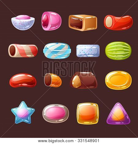 Colorful Candies With Filling Sweets Icons - Chocolate, Toffee, Peppermint Candies Vector Illustrati