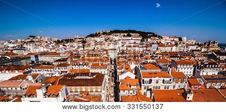 Panoramic View From The Elevador De Santa Justa To The Old Part Of Lisbon. Aerial Cityscape From San