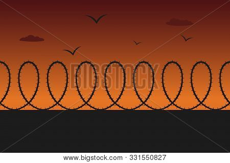 Prison Fence With Barbwire. Evening. Vector Illustration.