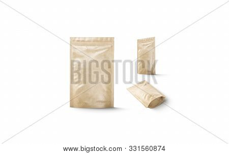 Blank Craft Doy-pack Mock Up Isolated, Different View, 3d Rendering. Empty Brown Flex Packaging Mock