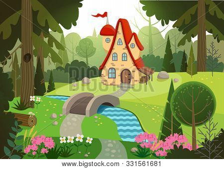 Fairytale Forest With A House And A Bridge Over The River. House Surrounded By Trees And River. Flat