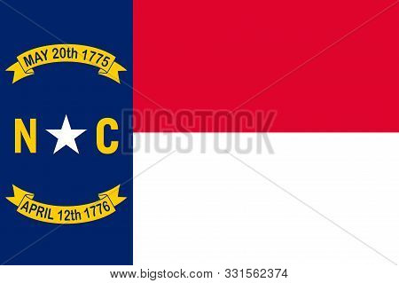 Flag Of North Carolina Is A State Located In The Southeastern Region Of The United States. Vector Il