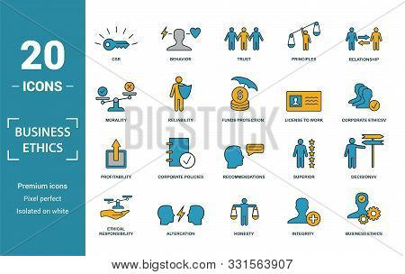 Business Ethics Icon Set. Include Creative Elements Csr, Trust, Morality, License To Work, Profitabi