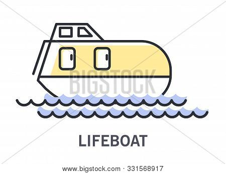 Lifeboat On Waves Icon With Enclosed Rescue Vessel