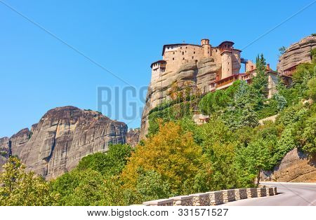 Road to The Monastery of Rousanou on the cliff in Meteora, Kalabaka, Greece
