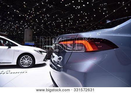Geneva, Switzerland - March 06, 2019: Toyota Corolla Sedan Hybrid At 89Th Gims