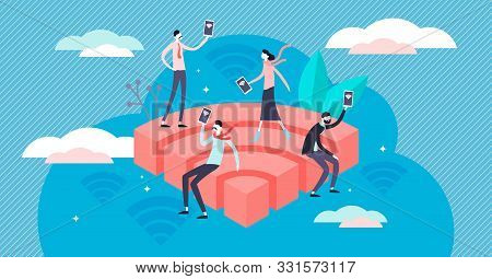 Wifi Vector Illustration. Flat Tiny Public Wireless Network Persons Concept. Hotspot Technology For